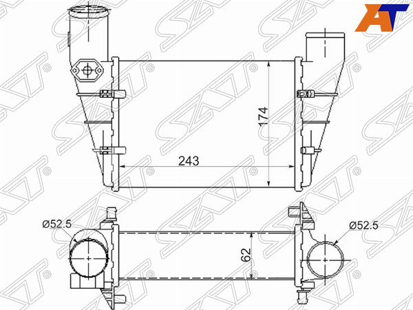 Радиатор интеркулера AUDI A4 94-98, AUDI A4 99-01, AUDI A4/S4 94-98, AUDI A4/S4 99-01, AUDI A6 94-97, AUDI A6 94-97 4/5D, AUDI A6 97-04, AUDI A6 97-04 4/5D, VW PASSAT B5 97-00