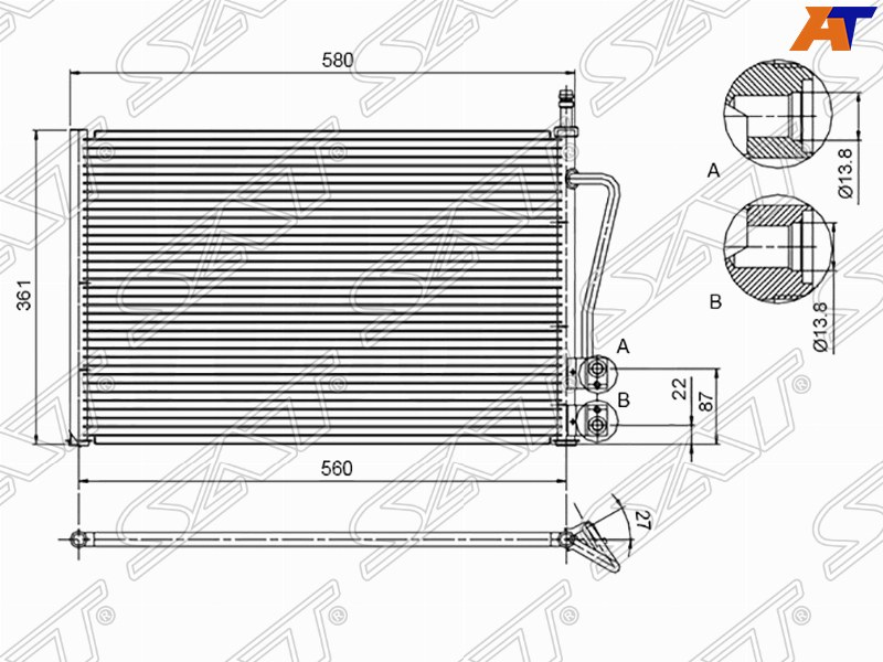Радиатор кондиционера FORD FUSION / FIESTA 1.2 / 1.4 / 1.6 01-08 / MAZDA 2 1.3 / 1.4 / 1.6 02
