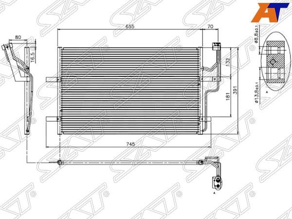Радиатор кондиционера MAZDA 5 05- (1,6D) MAZDA 3 1.6D / 2.0D 03